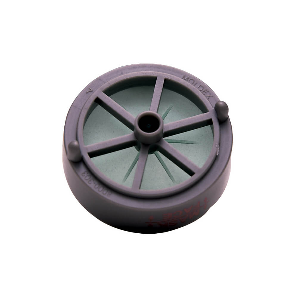 close-up view of disk holder specially designed reusable respirator cartridge filter