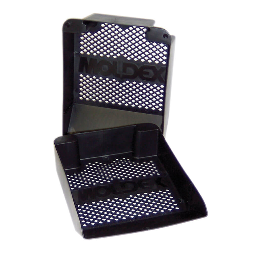 a pair of black dispenser trays for disposable earplug kits