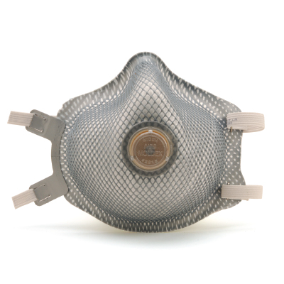 disposable respirator face mask with vent in its front that's blue