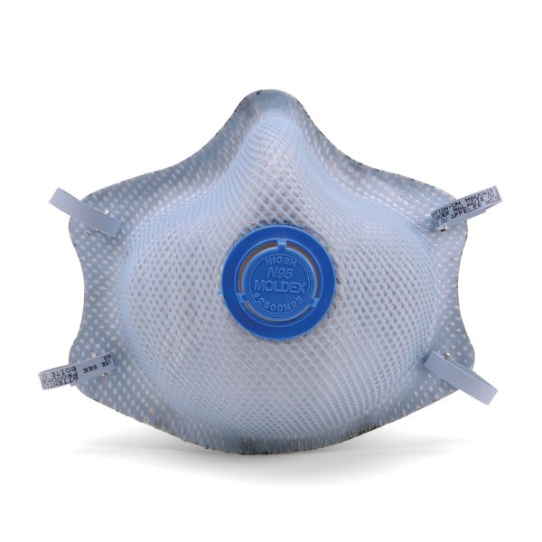 disposable blue respirator face mask and vent in front