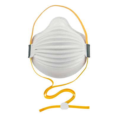 white disposable respirator face mask including yellow straps