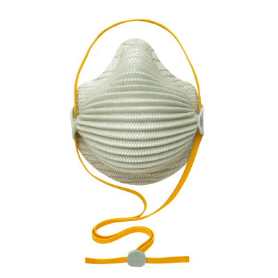 disposable white respirator face mask and orange adjustable straps