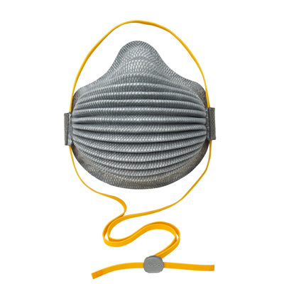 disposable gray respirator face mask with orange adjustable straps