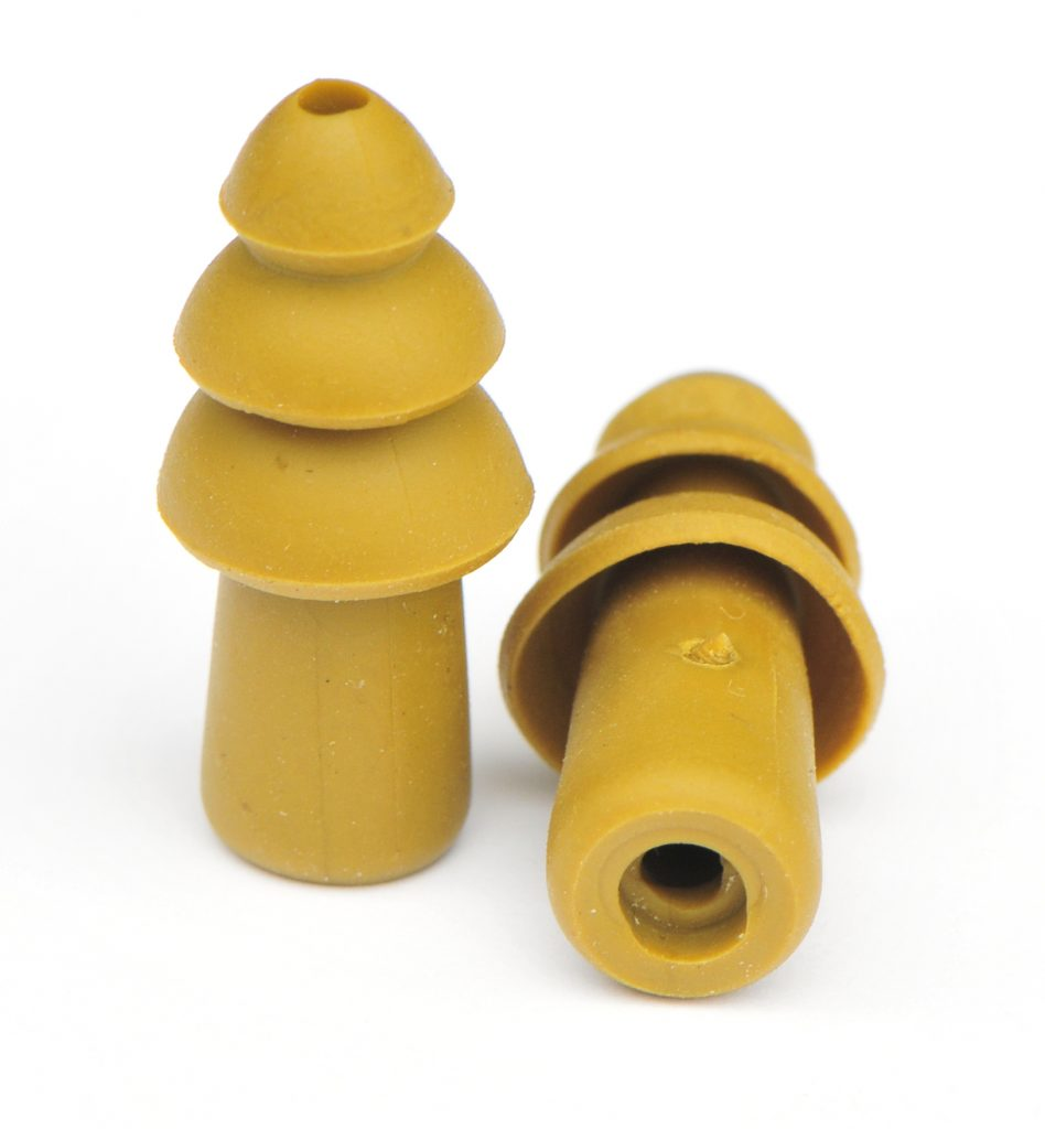 reusable pair of military impulse hearing-protection earplugs