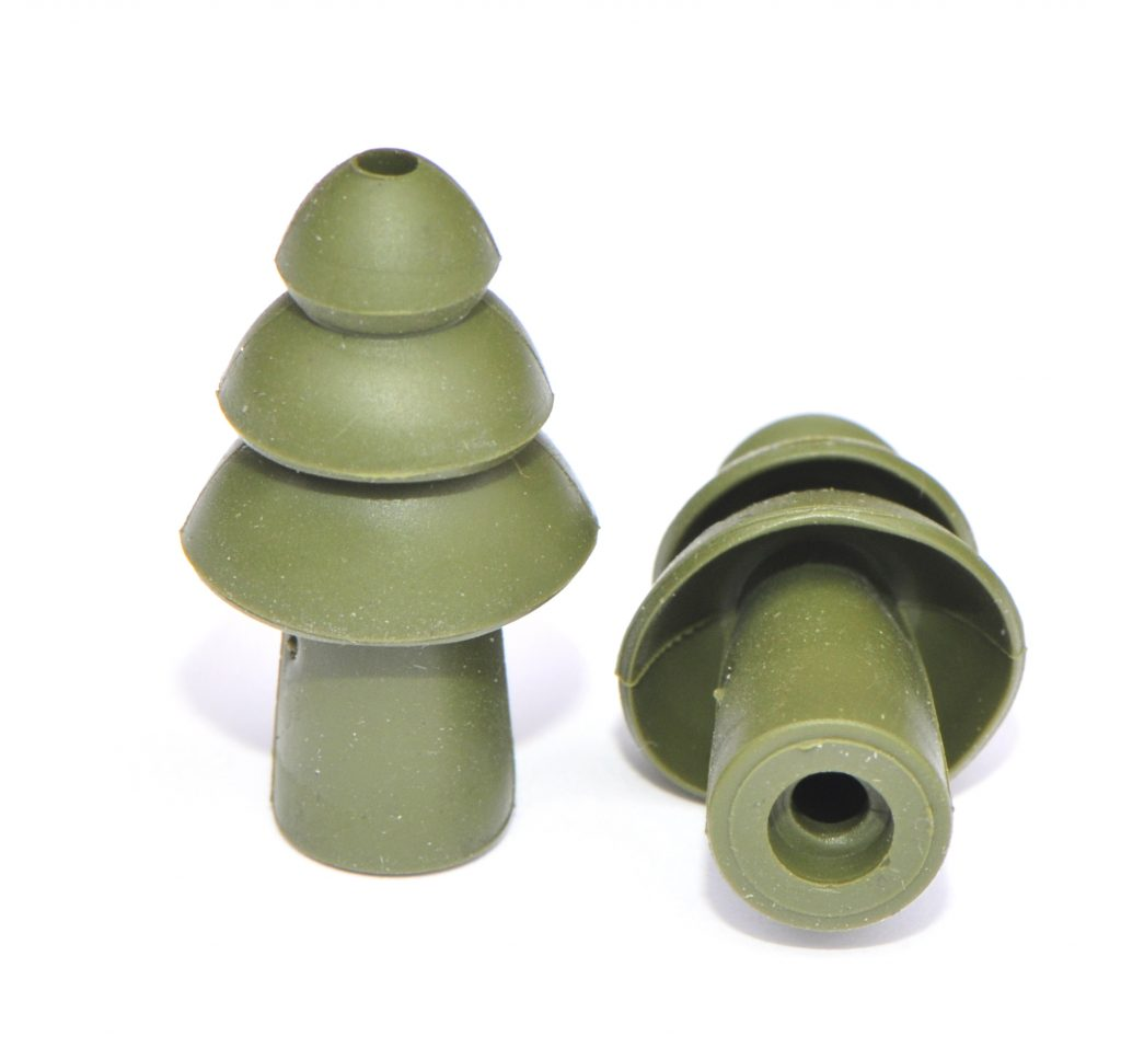 pair of reusable green military impulse hearing-protection earplugs