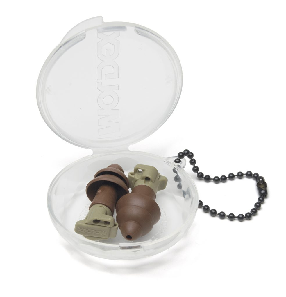 brown military impulse hearing protection reusable earplugs in case