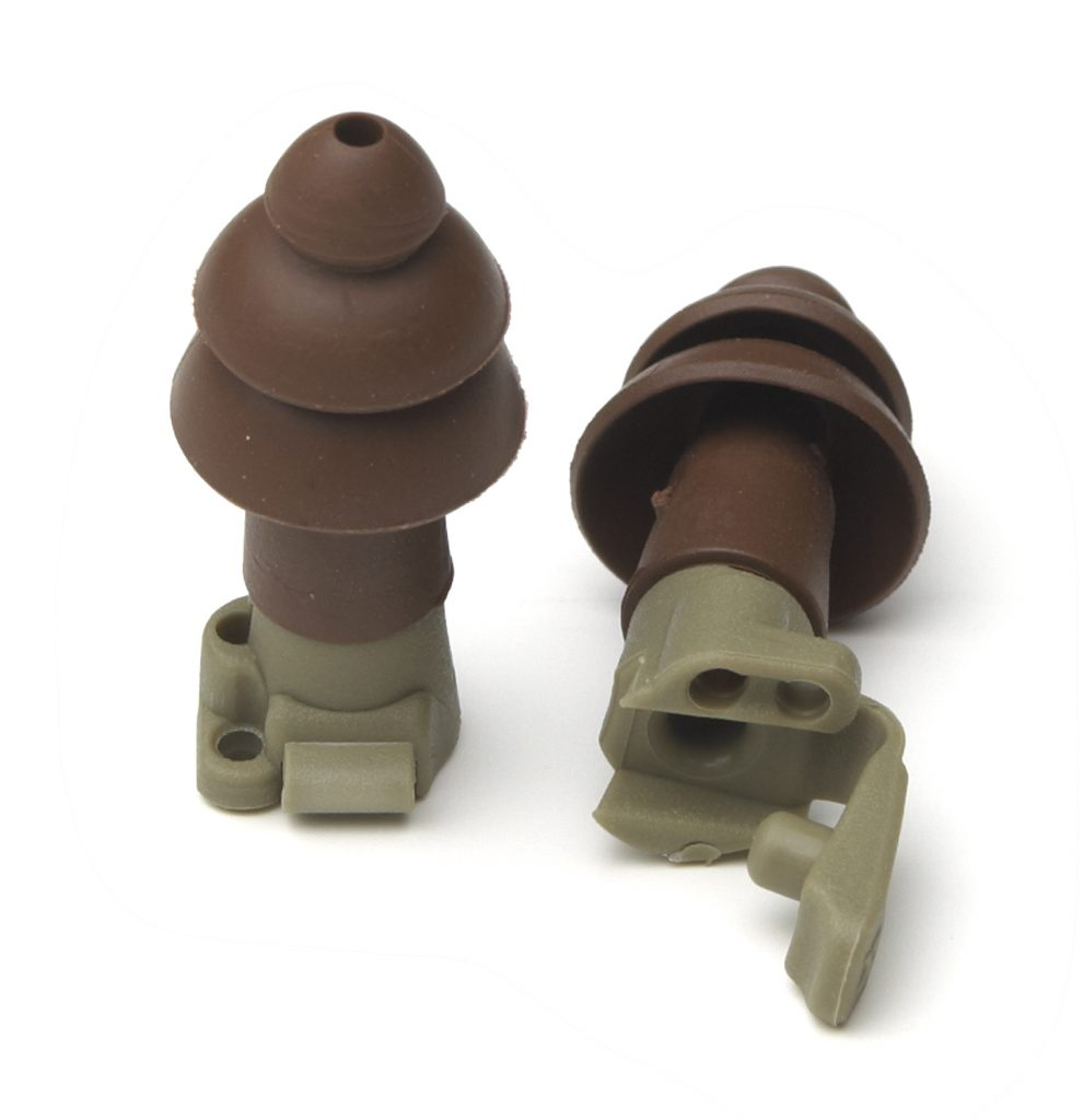 pair of brown military impulse hearing protection reusable earplugs