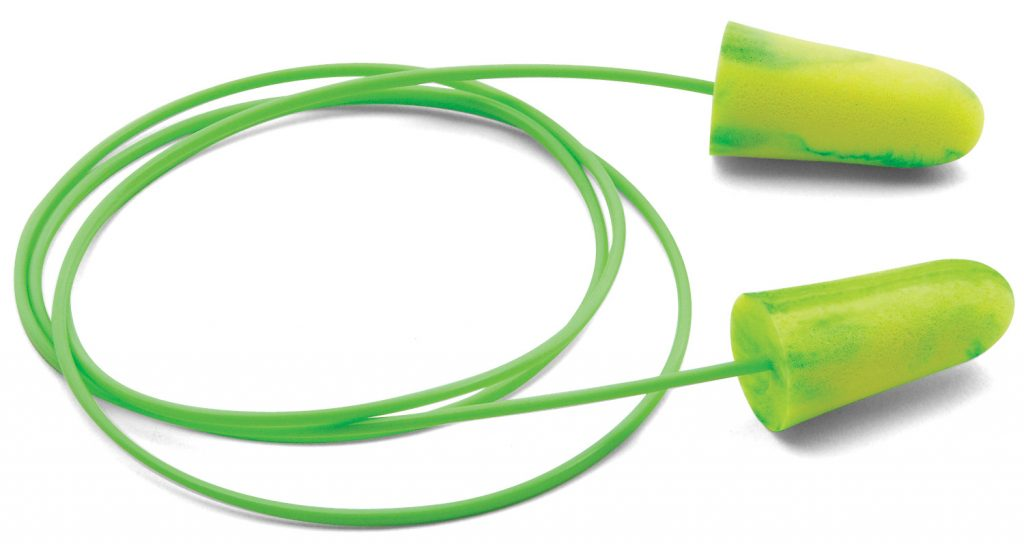 disposable bright-green foam earplugs and removable cord