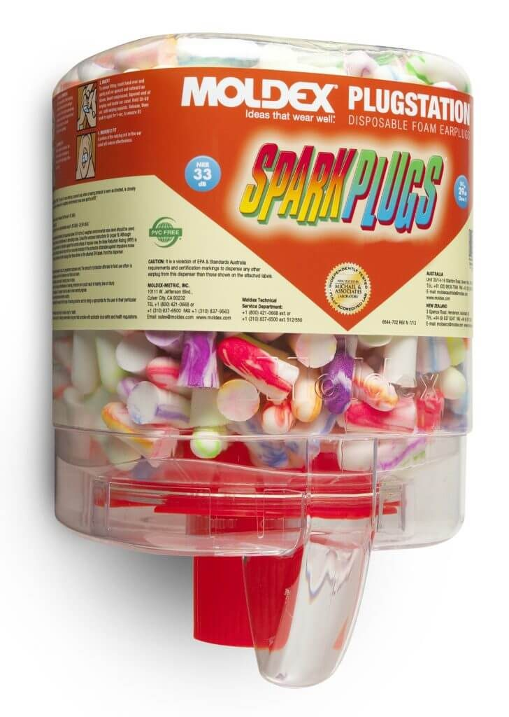 dispenser full of disposable colorful foam earplugs