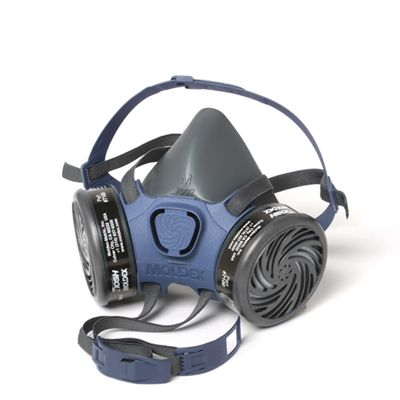 view from the side of black and blue reusable half-face respirator face mask