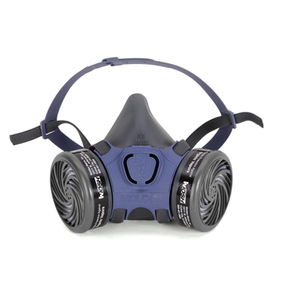 view from the front of black and blue reusable half-face respirator face mask