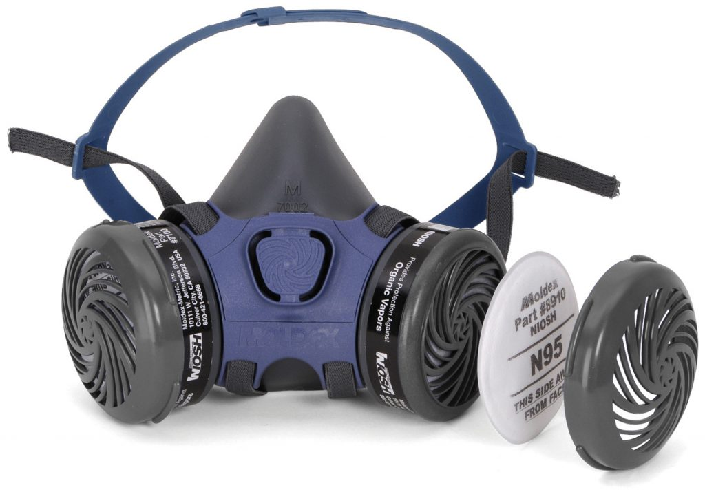 filter replacement procedure for use of reusable respirator face mask