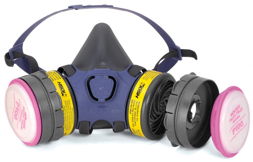 black and blue reusable respirator face mask including yellow replacement cartridge filters