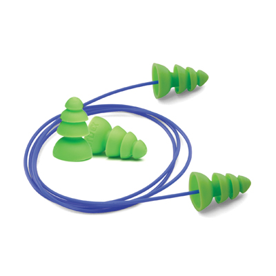 disposable green earplugs and removable cord