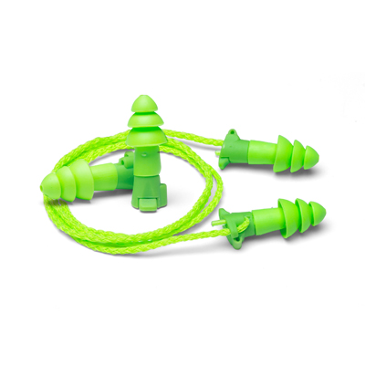 bright-green dual mode reusable earplugs along with removable cord