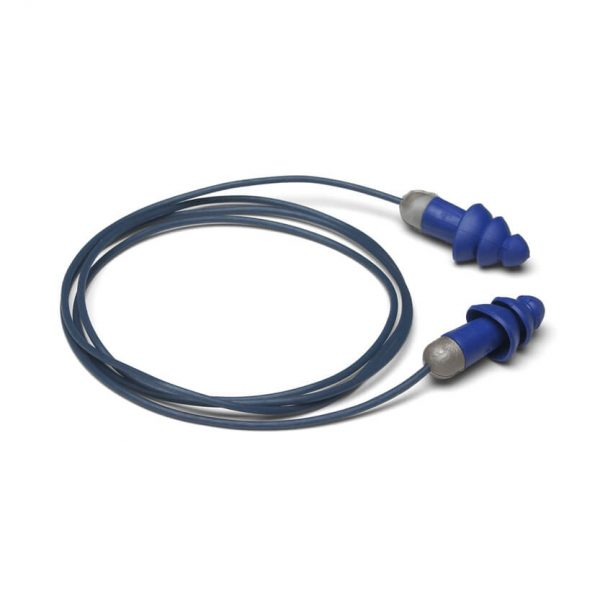 disposable blue and gray earplugs and removable cord