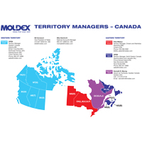 map of Moldex territory managers in Canada