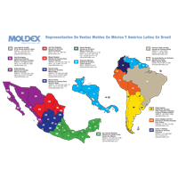 map of Moldex territory managers in Mexico and Latin America